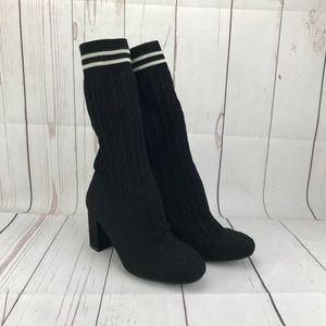 "Catherine Malandrino Black ""Pulley"" Sock Boots 7"